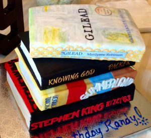 These are not books. This is a birthday cake.